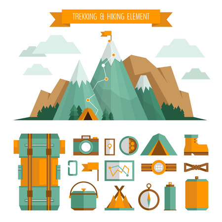 sleeping bags: Mountain trekking, hiking, climbing and camping equipment. Object set. Hiking trail concept, flat style.