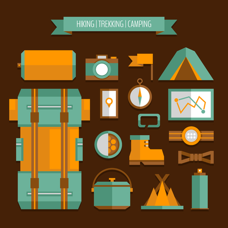 sleeping bags: Mountain trekking, hiking, climbing and camping equipment. Object set, flat style. Illustration