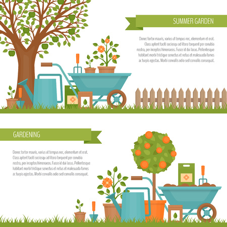 Concept of gardening. Garden tools.  Banner with summer garden landscape. Flat style, vector illustration.