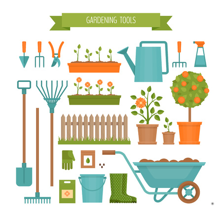 Gardening. Garden tools. Flat style, vector illustration.