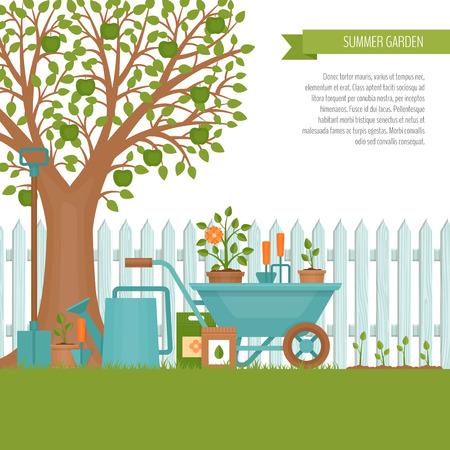 Concepto de jardinería. Herramientas de jardín. Banner con paisaje de jardín de verano. Estilo plano, ilustración vectorial.