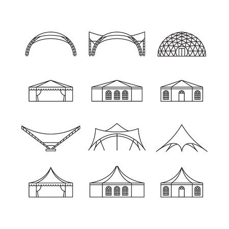 Icon set van verschillende soorten evenemententent. Folding tent, canvas dak, trouw tent, luifel. Vector illustratie. Stock Illustratie
