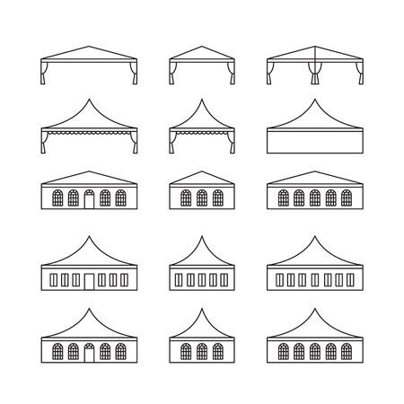 さまざまな種類のイベント テントのアイコンを設定します。折りたたみテント、キャンバスの屋根、結婚式のテント、キャノピー。ベクトルの図。