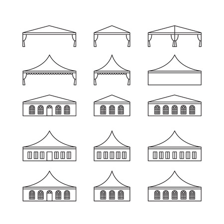 Icon set of various types event tent. Folding tent, canvas roof, wedding tent, canopy. Vector illustration.