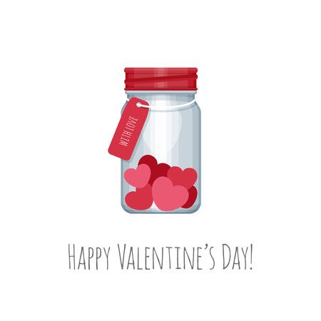 Mason jar with hearts inside. ?ongratulation on Valentines Day. Vector illustration.