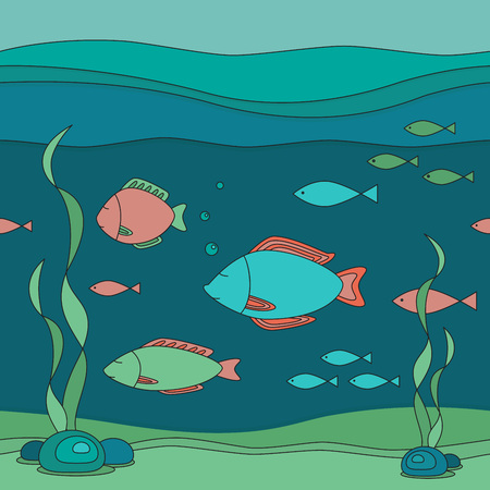 Vector seamless illustration of underwater world