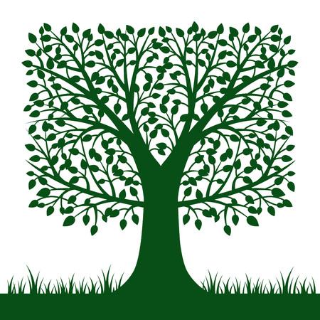 白い背景で隔離の木のシルエット。ベクトルの図。