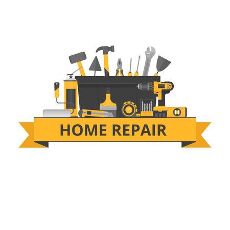 Home repair objects. Construction tools. Hand tools for home renovation and construction. Flat style, vector illustration. 版權商用圖片 - 87566001