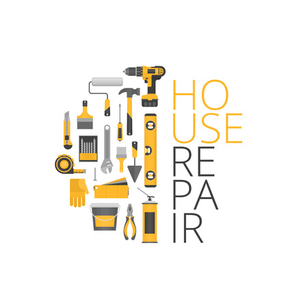 alicate: Home repair. Construction tools. Hand tools for home renovation and construction. Flat style, vector illustration.