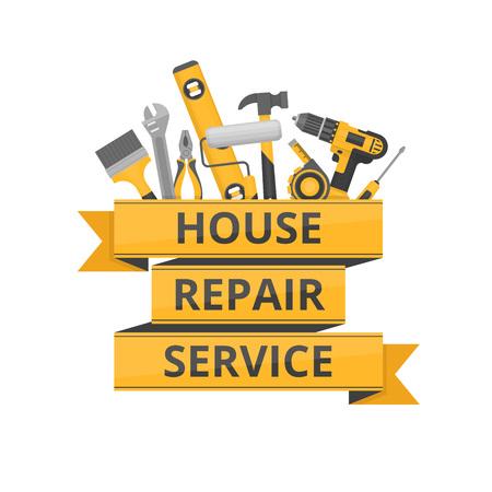 Home reparatie. Bouwgereedschap. Handgereedschap voor woningrenovatie en bouw. Vlakke stijl, vectorillustratie. Stock Illustratie