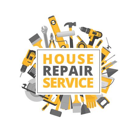 Réparation à domicile Outils de construction Outils à main pour la rénovation et la construction. Style plat, illustration vectorielle. Vecteurs