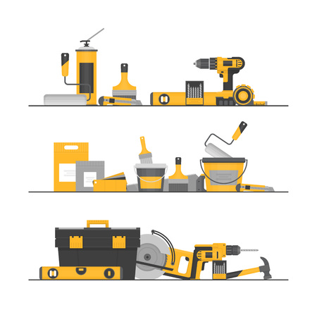 Home repair. ?onstruction tools. Hand tools for home renovation and construction. Flat style, vector illustration.  イラスト・ベクター素材