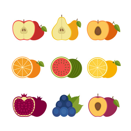 preserved: Fruits icon set. Flat style, vector illustration.