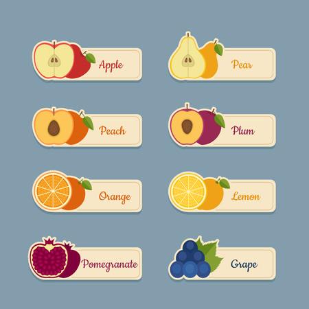 Jeu d'icônes de fruits. Étiquettes avec des fruits. Style plat, illustration vectorielle. Vecteurs