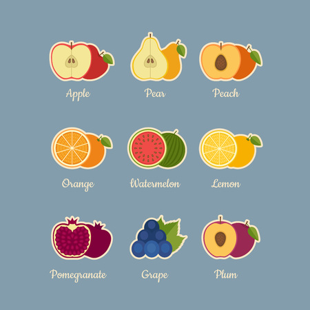 Fruits icon set. Flat style, vector illustration.