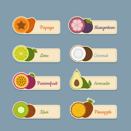 confiture: Tropical fruits icon set. Labels with fruits. Flat style, vector illustration.