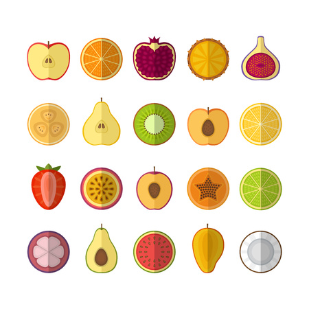 Fruits and berries icons set. Flat style, vector illustration. Imagens - 87566038
