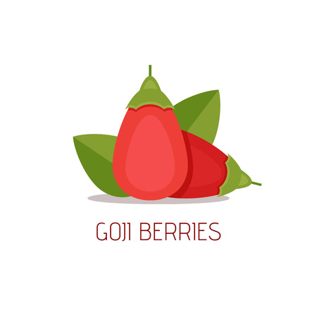 Goji berries with leaves on white background. Flat style, vector illustration.