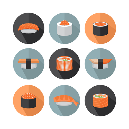 Sushi and roll flat style icon. Stock Vector - 87566063