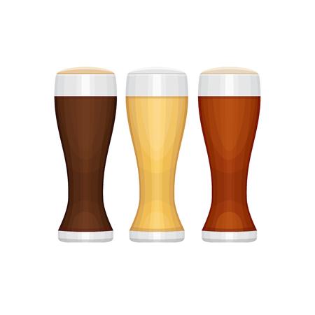Set of different beer glasses. Types of beer. Flat design style, vector illustration.