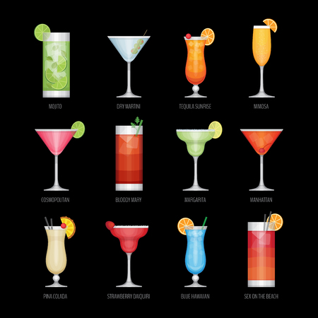Flat icons set of popular alcohol cocktail on black background. Flat design style, vector illustration. Stock fotó - 87862376