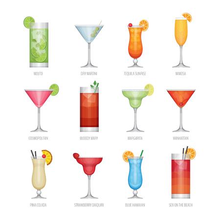 플랫 아이콘 인기있는 알콜 칵테일의 집합입니다. 플랫 디자인 스타일, 벡터 일러스트 레이 션입니다. 스톡 콘텐츠 - 87862386