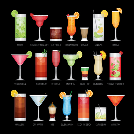 Flat icons set of popular alcohol cocktail on black background. Flat design style, vector illustration.