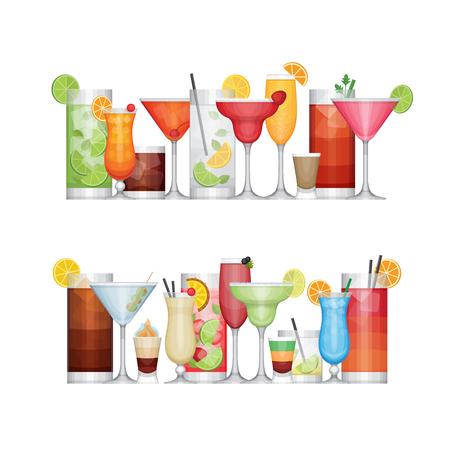 Different alcohol cocktail. Drinks and beverages. Flat design style, vector illustration. Illustration