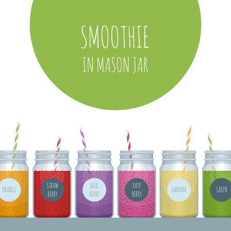 Smoothie bar poster. Smoothie mason jar. Vector illustration.