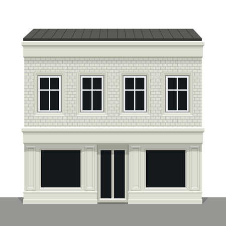 Facade building. Front of house. Vector detailed illustration.