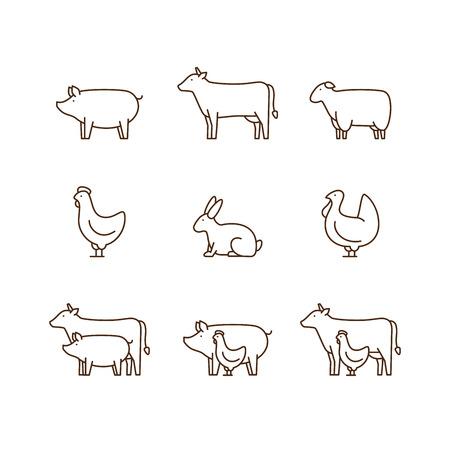 Cochon, vache, agneau, poulet, dinde, lapin.