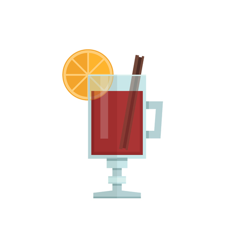 Mulled wine with orange slice and cinnamon stick.