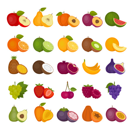 Fruits and berries icons set in flat style illustration.