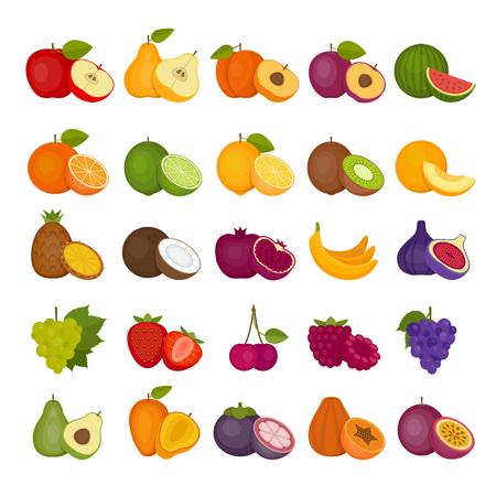 Owoce i jagody zestaw ikon w stylu płaski ilustracji.