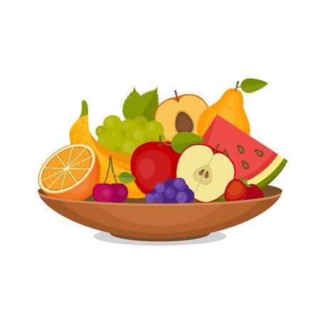 Iconos de frutas y bayas en la ilustración de estilo plano.