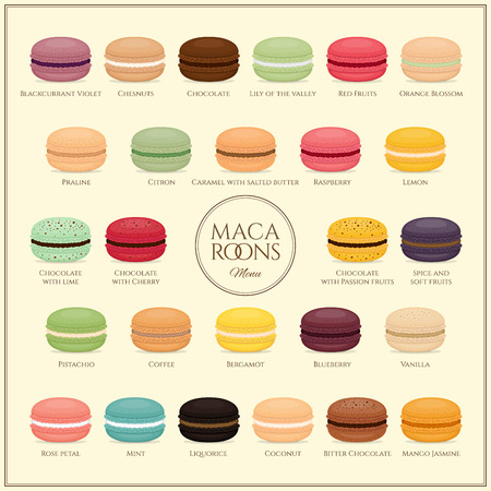 Different types of macaroons. Macaroons  menu. Set of different taste cake macarons. Flat style, vector illustration.