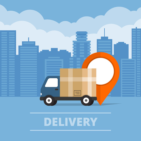 Delivery service. Delivery truck on city background.