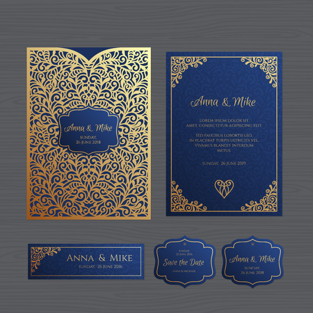 Wedding invitation or greeting card with vintage ornament. Paper lace envelope template. Wedding invitation envelope mock-up for laser cutting. Vector illustration. Vectores