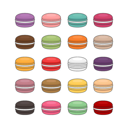 Different types of macaroons. Set of different taste cake macarons. Flat style, vector illustration.