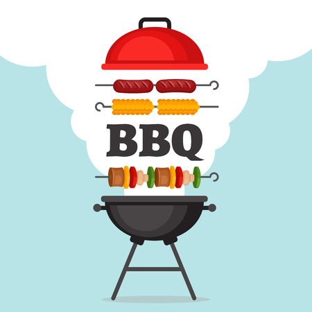 Bbq party background with grill and fire. Barbecue poster. Flat style, vector illustration. Stock Illustratie