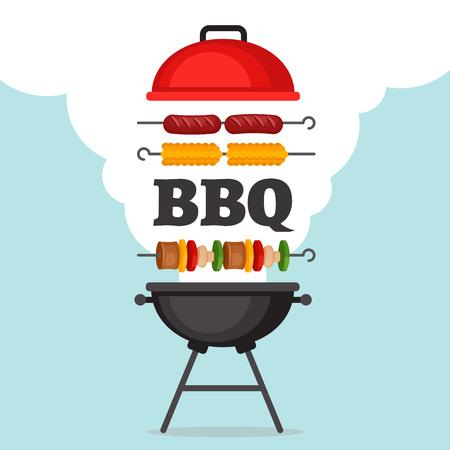 BBQ-partij achtergrond met grill en vuur. Barbecue poster. Vlakke stijl, vector illustratie.