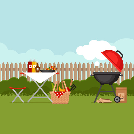 Bbq party background with grill. Barbecue poster. Flat style, vector illustration.  Vettoriali