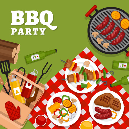 Bbq party background with grill. Barbecue poster. Flat style, vector illustration.  Stock Illustratie