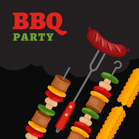 Bbq party background with grill food. Barbecue poster. Flat style, vector illustration.