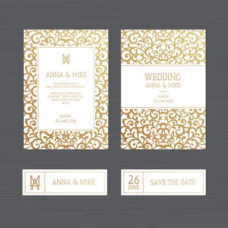 Luxury wedding invitation or greeting card with vintage gold ornament. Vector illustration.  Illusztráció