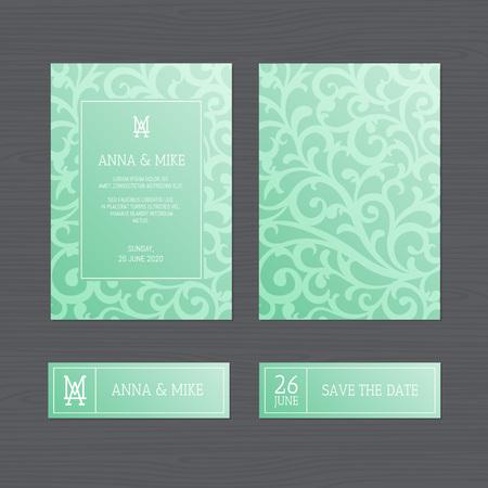 Luxury wedding invitation or greeting card with vintage floral ornament. Vector illustration. Illusztráció