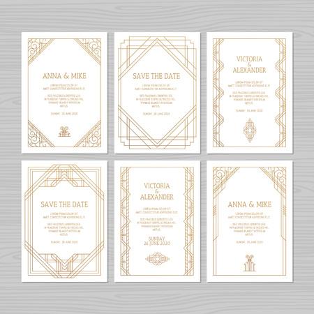 Luxury wedding invitation or greeting card with geometric ornament. Art Deco style. Vector illustration. Illusztráció