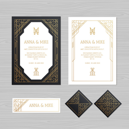 Luxury wedding invitation or greeting card with geometric ornament. Art Deco style. Paper envelope template. Wedding invitation envelope mock-up for laser cutting. Vector illustration. Illusztráció