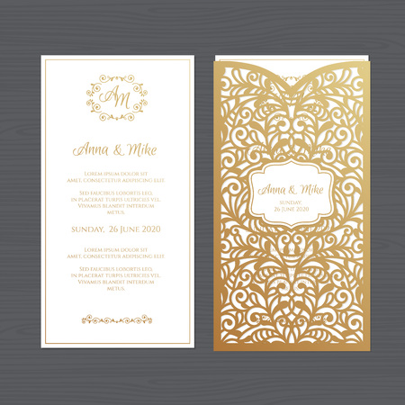 Luxury wedding invitation or greeting card with vintage floral ornament. Paper lace envelope template. Wedding invitation envelope mock-up for laser cutting. Vector illustration. Çizim
