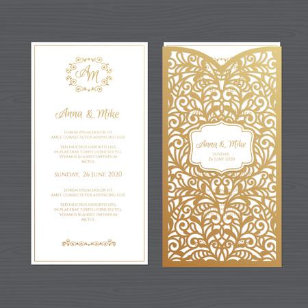 Luxushochzeitseinladung oder Grußkarte mit Weinleseblumenverzierung. Papierspitzenumschlagschablone. Hochzeitseinladungs-Umschlagmodell für das Laserschneiden. Vektorillustration. Vektorgrafik